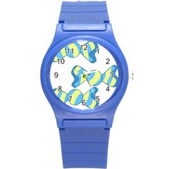 Candy Yellow Blue Round Plastic Sport Watch (s) by Alisyart