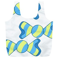 Candy Yellow Blue Full Print Recycle Bags (l)  by Alisyart