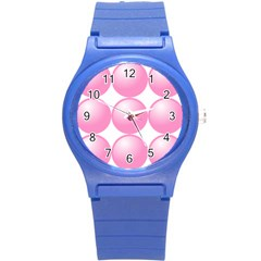 Circle Pink Round Plastic Sport Watch (s) by Alisyart