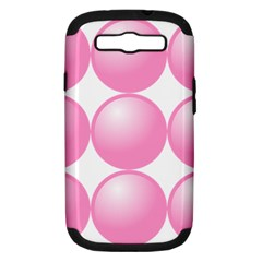 Circle Pink Samsung Galaxy S Iii Hardshell Case (pc+silicone) by Alisyart