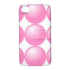 Circle Pink Apple Iphone 4/4s Hardshell Case With Stand by Alisyart