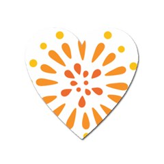 Circle Orange Heart Magnet