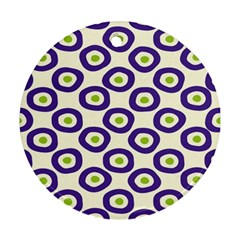 Circle Purple Green White Round Ornament (two Sides) by Alisyart