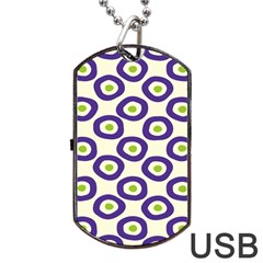 Circle Purple Green White Dog Tag Usb Flash (one Side) by Alisyart