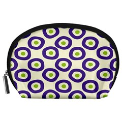 Circle Purple Green White Accessory Pouches (large)  by Alisyart