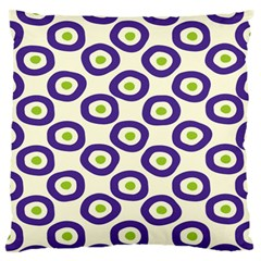 Circle Purple Green White Large Flano Cushion Case (one Side)