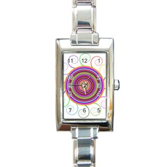 Abstract Spiral Circle Rainbow Color Rectangle Italian Charm Watch by Alisyart