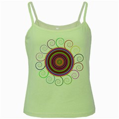 Abstract Spiral Circle Rainbow Color Green Spaghetti Tank