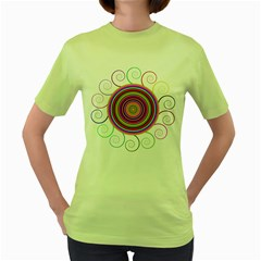 Abstract Spiral Circle Rainbow Color Women s Green T Shirt by Alisyart