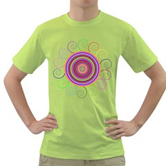 Abstract Spiral Circle Rainbow Color Green T Shirt by Alisyart