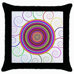 Abstract Spiral Circle Rainbow Color Throw Pillow Case (black) by Alisyart