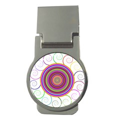 Abstract Spiral Circle Rainbow Color Money Clips (round)