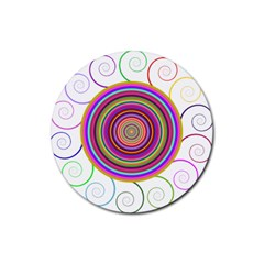Abstract Spiral Circle Rainbow Color Rubber Coaster (round)