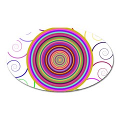 Abstract Spiral Circle Rainbow Color Oval Magnet by Alisyart
