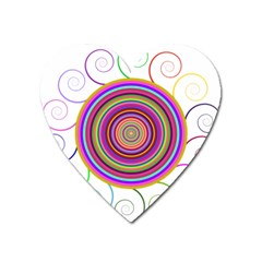 Abstract Spiral Circle Rainbow Color Heart Magnet by Alisyart