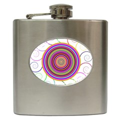 Abstract Spiral Circle Rainbow Color Hip Flask (6 Oz) by Alisyart