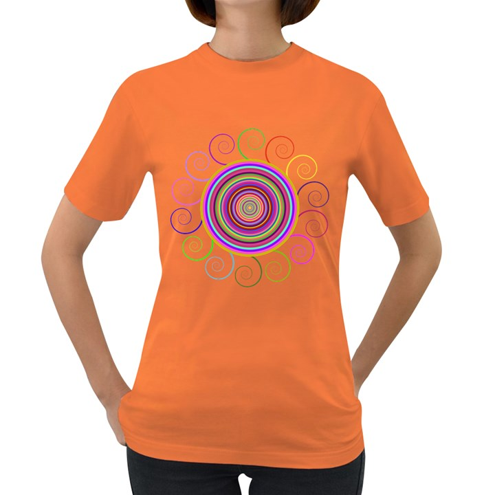 Abstract Spiral Circle Rainbow Color Women s Dark T-Shirt