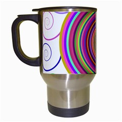 Abstract Spiral Circle Rainbow Color Travel Mugs (white) by Alisyart