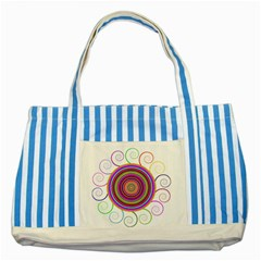 Abstract Spiral Circle Rainbow Color Striped Blue Tote Bag