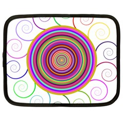 Abstract Spiral Circle Rainbow Color Netbook Case (large)