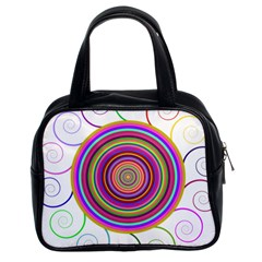 Abstract Spiral Circle Rainbow Color Classic Handbags (2 Sides)