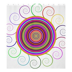 Abstract Spiral Circle Rainbow Color Shower Curtain 66  X 72  (large)