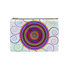 Abstract Spiral Circle Rainbow Color Cosmetic Bag (medium)  by Alisyart