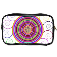 Abstract Spiral Circle Rainbow Color Toiletries Bags by Alisyart