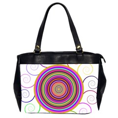 Abstract Spiral Circle Rainbow Color Office Handbags (2 Sides)