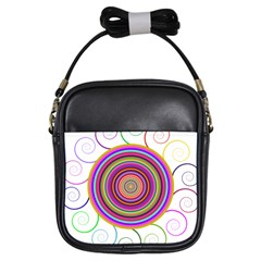 Abstract Spiral Circle Rainbow Color Girls Sling Bags by Alisyart