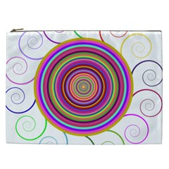 Abstract Spiral Circle Rainbow Color Cosmetic Bag (xxl)