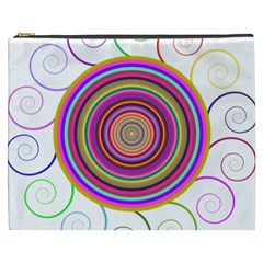 Abstract Spiral Circle Rainbow Color Cosmetic Bag (xxxl)  by Alisyart