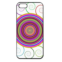 Abstract Spiral Circle Rainbow Color Apple Iphone 5 Seamless Case (black)