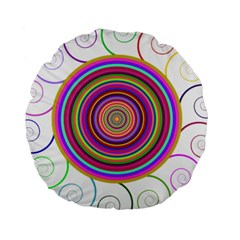 Abstract Spiral Circle Rainbow Color Standard 15  Premium Round Cushions by Alisyart