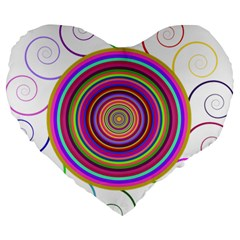 Abstract Spiral Circle Rainbow Color Large 19  Premium Heart Shape Cushions by Alisyart