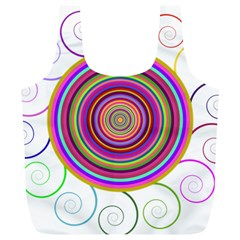 Abstract Spiral Circle Rainbow Color Full Print Recycle Bags (l)  by Alisyart