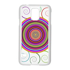 Abstract Spiral Circle Rainbow Color Samsung Galaxy S5 Case (white)