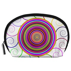 Abstract Spiral Circle Rainbow Color Accessory Pouches (large)  by Alisyart