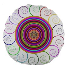 Abstract Spiral Circle Rainbow Color Large 18  Premium Flano Round Cushions by Alisyart