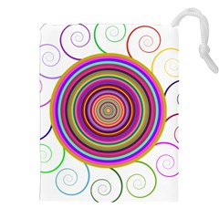 Abstract Spiral Circle Rainbow Color Drawstring Pouches (xxl)