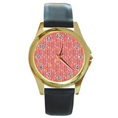 Circle Red Freepapers Paper Round Gold Metal Watch by Alisyart