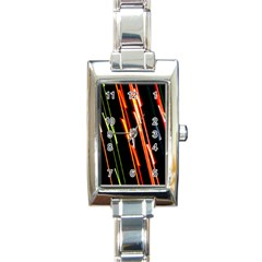 Colorful Diagonal Lights Lines Rectangle Italian Charm Watch by Alisyart