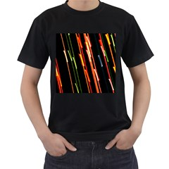 Colorful Diagonal Lights Lines Men s T Shirt (black) (two Sided) by Alisyart