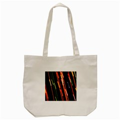 Colorful Diagonal Lights Lines Tote Bag (cream) by Alisyart