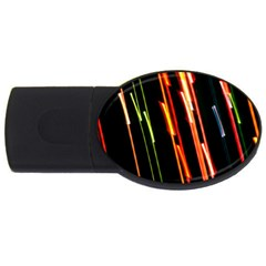 Colorful Diagonal Lights Lines Usb Flash Drive Oval (4 Gb) by Alisyart