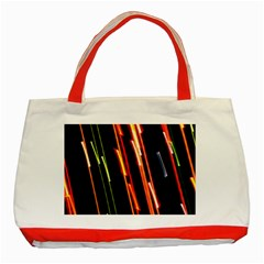 Colorful Diagonal Lights Lines Classic Tote Bag (red) by Alisyart