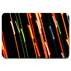 Colorful Diagonal Lights Lines Large Doormat  by Alisyart