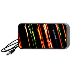 Colorful Diagonal Lights Lines Portable Speaker (black) by Alisyart