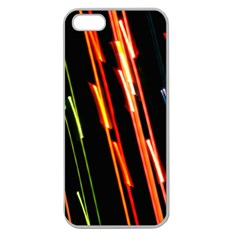 Colorful Diagonal Lights Lines Apple Seamless Iphone 5 Case (clear) by Alisyart