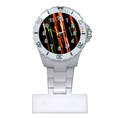Colorful Diagonal Lights Lines Plastic Nurses Watch by Alisyart